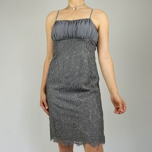 Gray piped laced satin midi gathered bustier dress